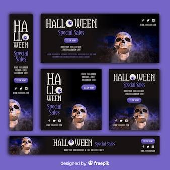 Pack de banners de rebajas web de halloween con imagen
