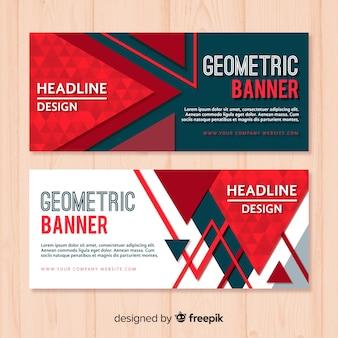 Pack de banners modernos con diseño geométrico