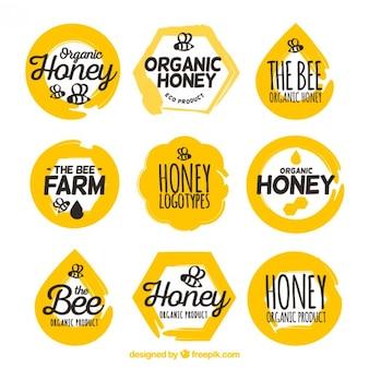Pack de bonitas pegatinas de miel ecológica