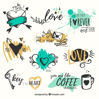 Pack de corazones dibujados a mano con frases