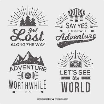 Pack de cuatro insignias de aventuras en estilo vintage