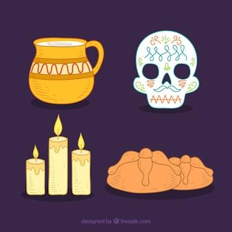 Pack de elementos de celebración de día de muertos