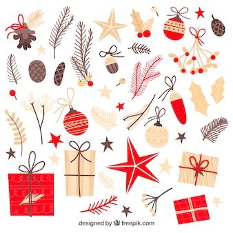 Pack de elementos de navidad retro en diseño plano