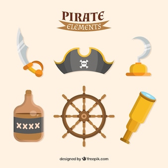 Pack de elementos pirata en diseño plano