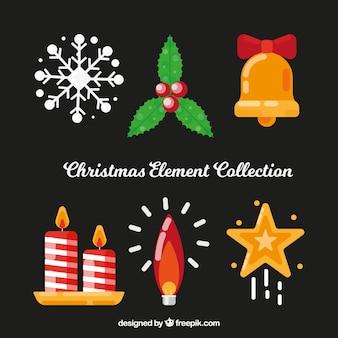 Pack de elementos tradicionales de navidad