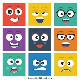 Pack de emoticonos cuadrados