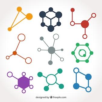 Pack de estructuras moleculares de colores en diseño plano