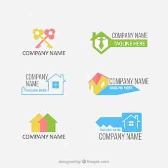 Pack de logos estilosos y planos de inmobiliaria