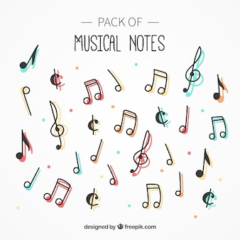 Pack de notas musicales con color