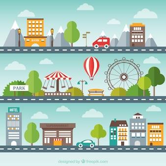Pack de paisaje urbano plano