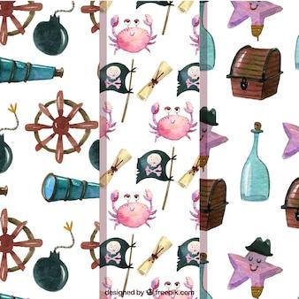 Pack de patrones de elementos pirata de acuarela