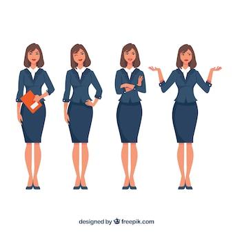 Pack de personaje de mujer de negocios expresiva