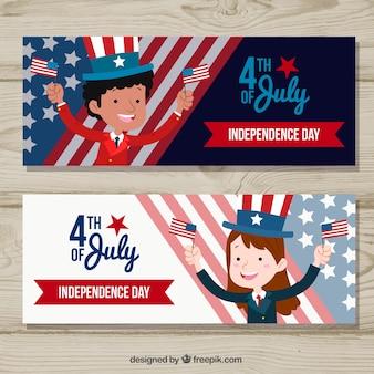 Pack dibujado a mano de banners del día de la independencia de ee.uu.