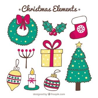 Pack dibujado a mano de elementos de navidad