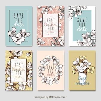 Pack dibujado a mano de tarjetas de jazmín
