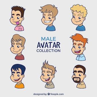 Pack dibujado a mano de avatares masculinos