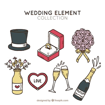 Pack dibujado a mano de elementos de boda