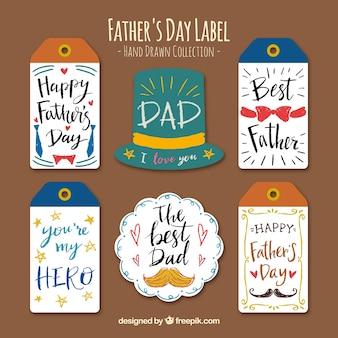 Pack dibujado a mano de etiquetas del día del padre