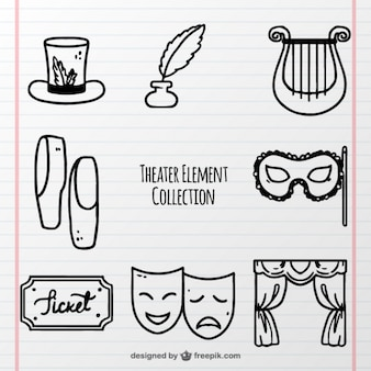 Pack dibujado a mano de objetos de teatro fantásticos