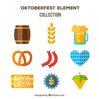 Pack con dieño plano de elementos clásicos del oktoberfest