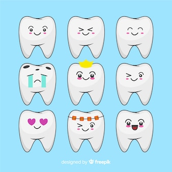 Pack dientes kawaii dibujados a mano