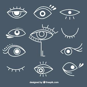 Pack de diferentes ojos dibujados a mano