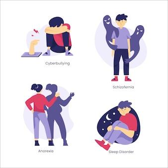 Pack de diferentes trastornos mentales de diseño plano
