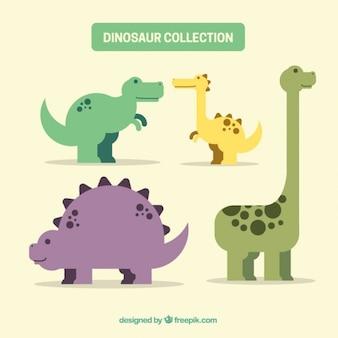 Pack de dinosaurios simpáticos planos