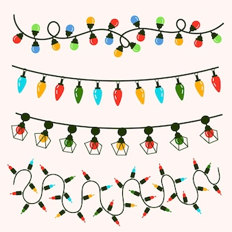 Pack de diseño plano de elementos decorativos navideños