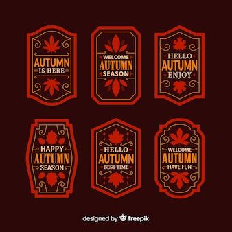 Pack de diseño plano de etiquetas de otoño