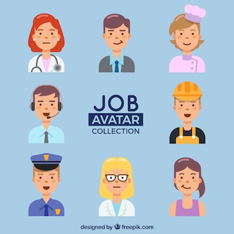 Pack divertido de avatares de trabajadores