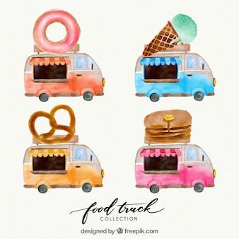Pack divertido con food truck en acuarela