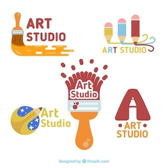 Pack de divertidos logos de estudio de arte