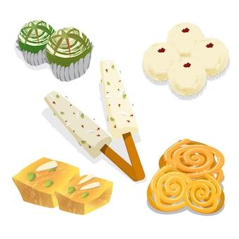 Pack de dulces indios dibujados a mano