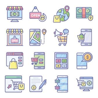 Pack de e paquete de iconos planos de compras