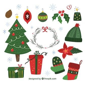 Pack elegante de elementos de navidad