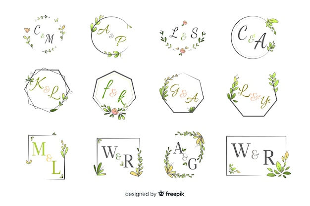 Pack de elegante monograma de boda ornamental