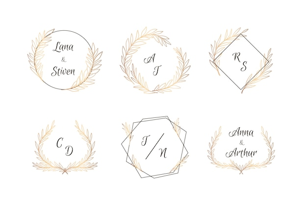 Pack de elegantes monogramas de boda