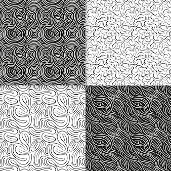 Pack de elegantes patrones de líneas redondeadas