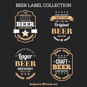 Pack de elegantes pegatinas retro de cerveza
