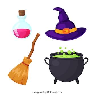 Pack de elementos de bruja de halloween
