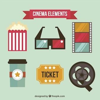 Pack de elementos de cine en diseño plano