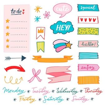 Pack de elementos coloridos del álbum de recortes de planificación