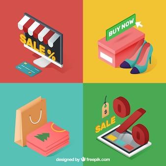 Pack de elementos de compras online en estilo isométrico