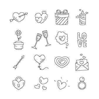 Pack de elementos del día de san valentín garabatos