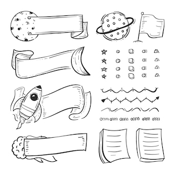 Pack de elementos dibujados a mano para revistas bullet