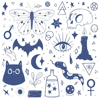 Pack de elementos esotéricos dibujados a mano