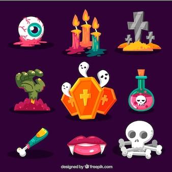 Pack de elementos espeluznantes de halloween