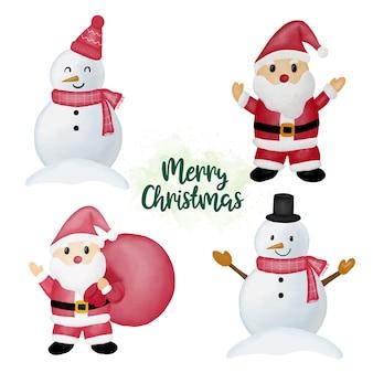 Pack de elementos de feliz navidad en acuarela