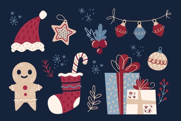 Pack de elementos de feliz navidad dibujados a mano